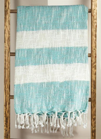 Cotton Stripe Turquoise Woven Throw