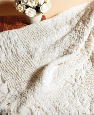 Textured Block Natural 2 Layer Cotton Throw Blanket