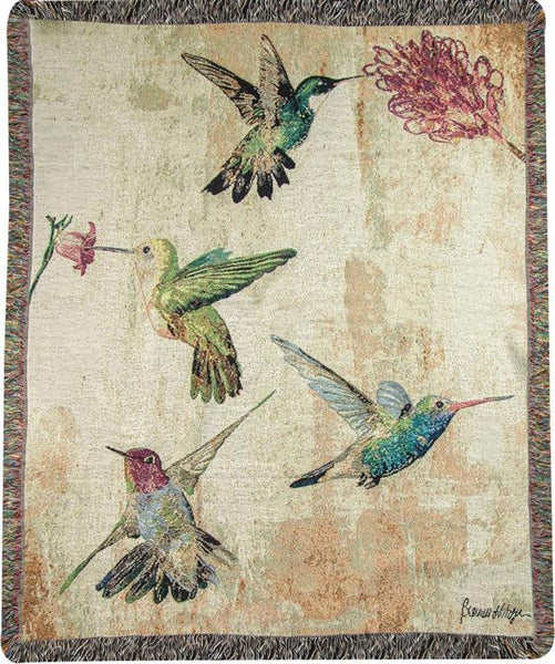 Hummingbird Floral Throw Blanket by Brandy Fitzgerald© -   - 1