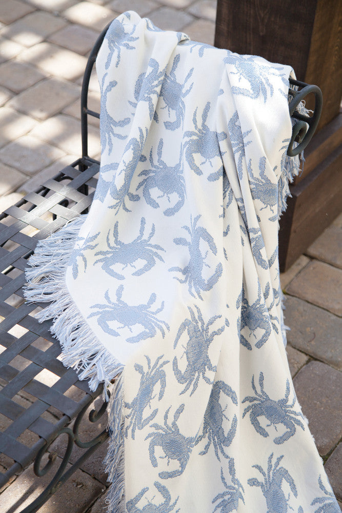 Blue Crab Rayon Throw Blanket