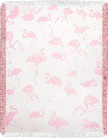 Pink Flamingo Toss Rayon Throw