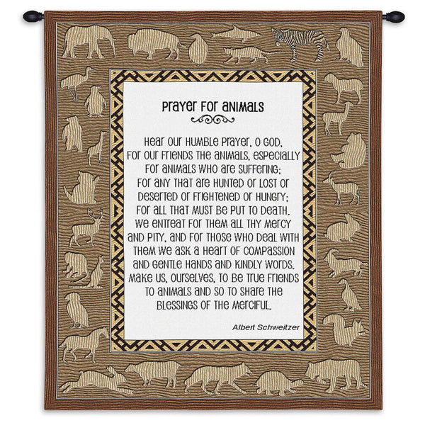 Prayer For Animals Wall Tapestry by Albert Schweitzer© -
