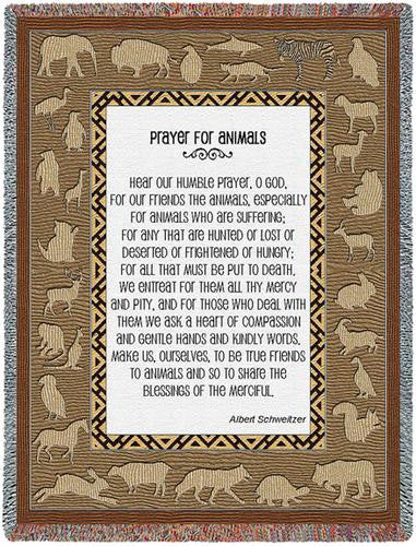 Prayer For Animals Throw Blanket by Albert Schweitzer© -