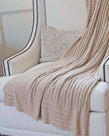 Bamboo Cable Knit Throw Blanket - Wheat/Camel