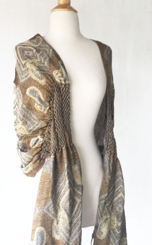 Woven Reversible Ruffled Scarf/Wrap - Sand Pepples