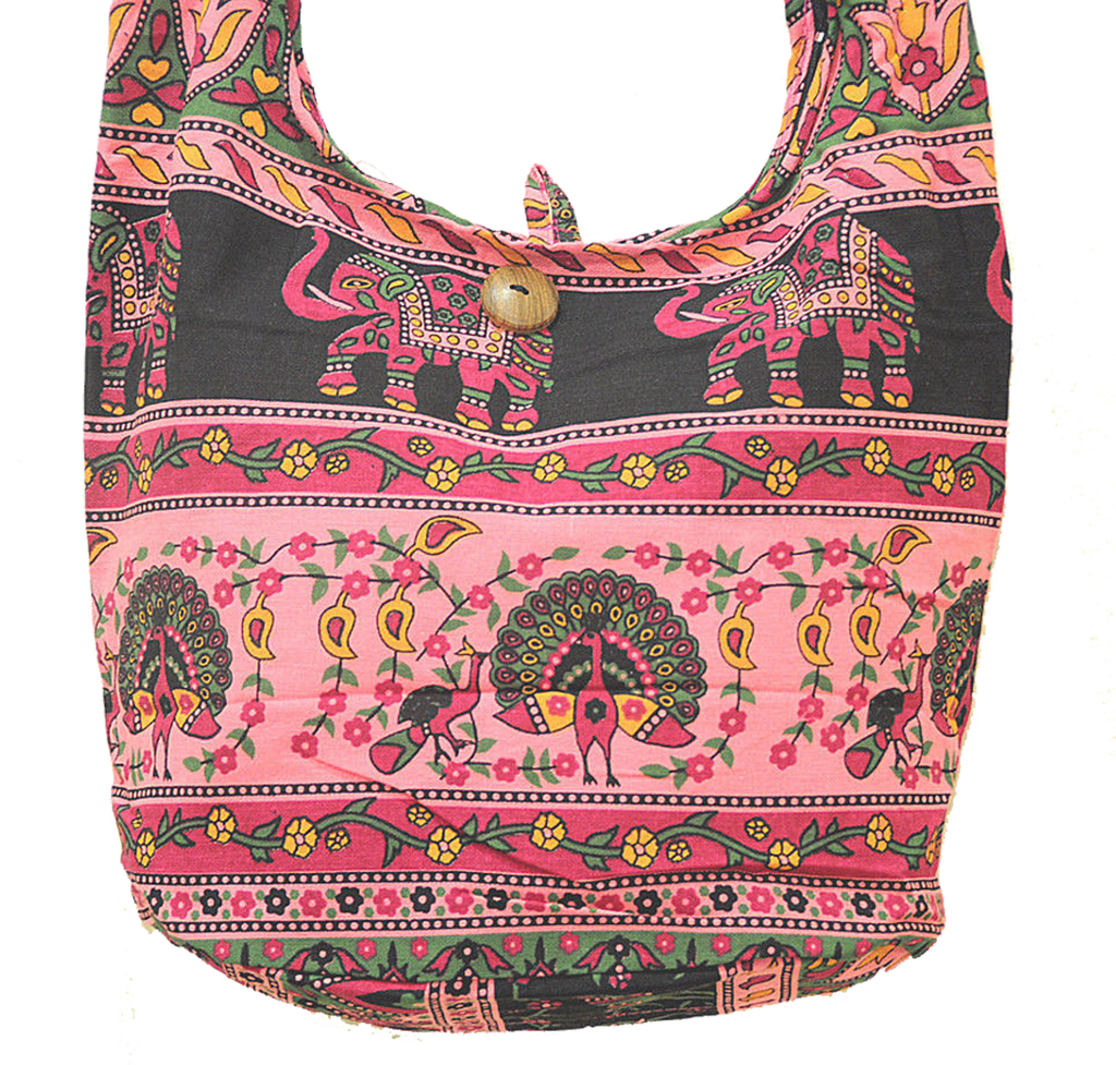 Boho Sling Bag - Elephant Peacock Rose