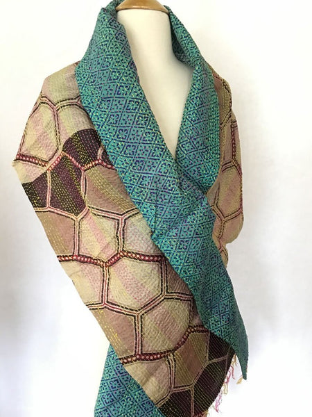 Kantha Silk Reversible Scarf-Stole  - Brown/Turquoise