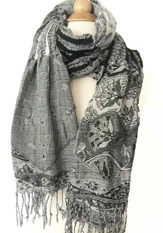 Woven Reversible Ruffled Wrap/Scarf/Shawl - Floral Black/White