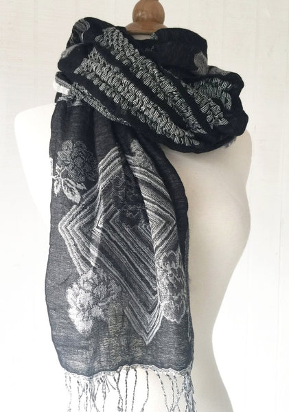 Woven Reversible Ruffled Scarf/Shawl - White Raven
