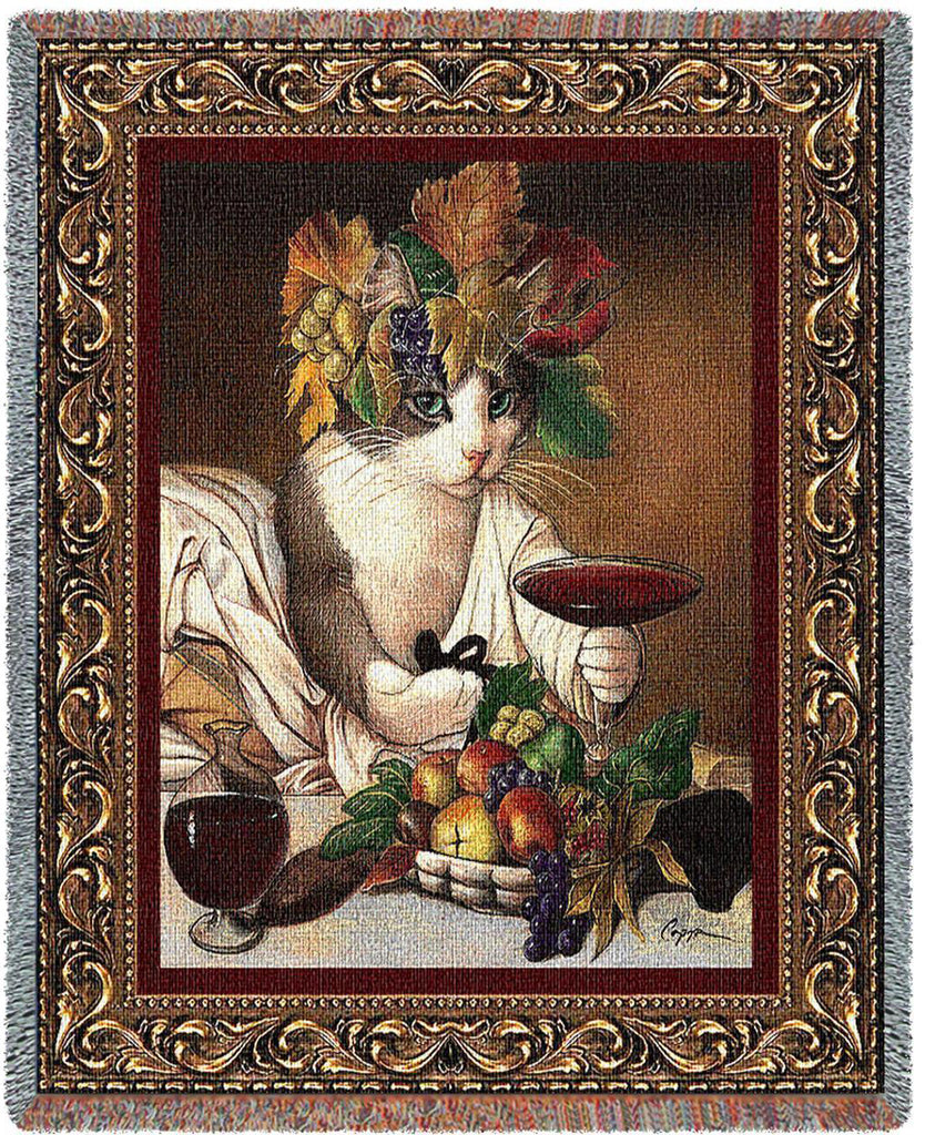 Bacchus Cat Woven Throw Blanket by Melinda Copper©