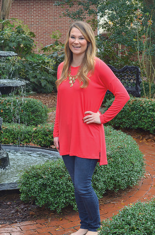 Coral Bamboo Tunic Top
