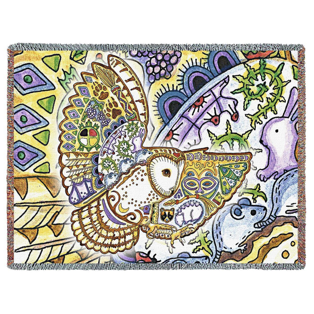 Barn Owl Woven Throw Blanket by Sue Coccia©