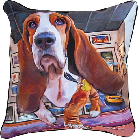 Bumping Along Basset Hound Pillow by Robert McClintock -