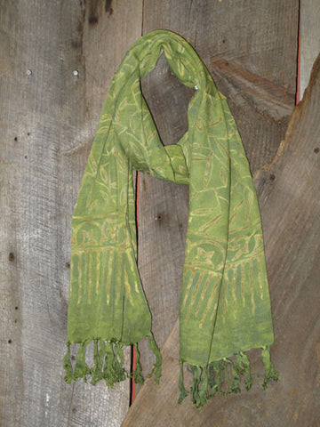 Indonesian Handcrafted Batik Rayon Scarf - Avocado Green -