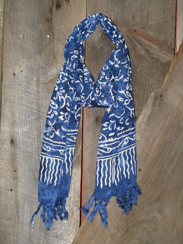 Indonesian Handcrafted Batik Rayon Scarf - Midnight Blue and White -