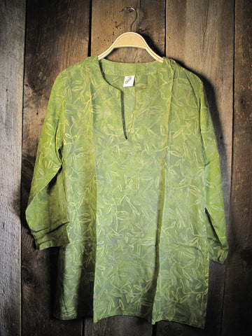 Batik Rayon Kurti Tunic - Apple Green Batik