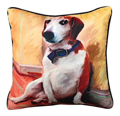 Being a Beagle Pillow by Robert McClintock -