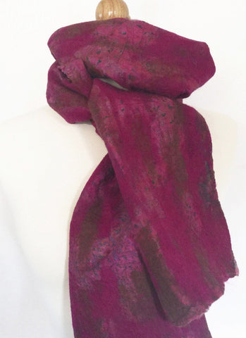 Berry Nuno Felted Merino Wool-Silk Sari Scarf - One-of-a-Kind Wearable Art