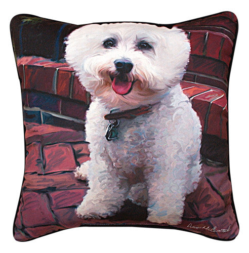 Glam Dog Bichon Pillow by Robert McClintock -