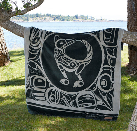 "Bill Helin© ""The Wolf"" Velura Throw Blanket - Tsimshian"