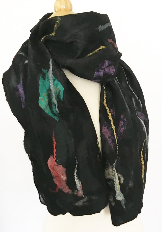 Black Nuno Felted Merino Wool-Sari Silk Scarf|One-of-a-Kind Wearable Art