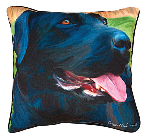 Handsome Black Lab Pillow by Robert McClintock©