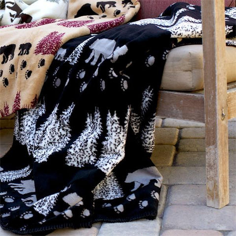 Denali Microplush™ Rustic Lodge Throw - Black Denali Bear
