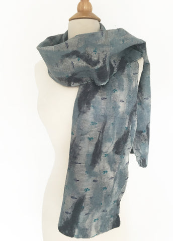 Blue-Gray Nuno Felted Merino Wool-Sari Silk Scarf|One-of-a-Kind Wearable Art