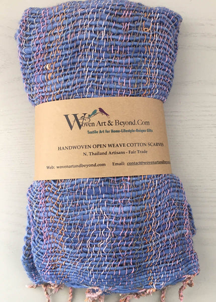 Handwoven Open Weave Cotton Scarf - Multi Blue