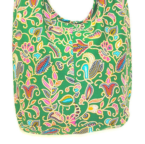 Boho Sling Bag - Green Fantasy Floral