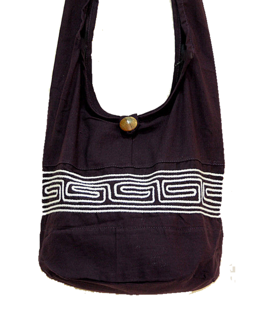 Boho Sling Bag - Labyrinth Line Black/White Embroidered