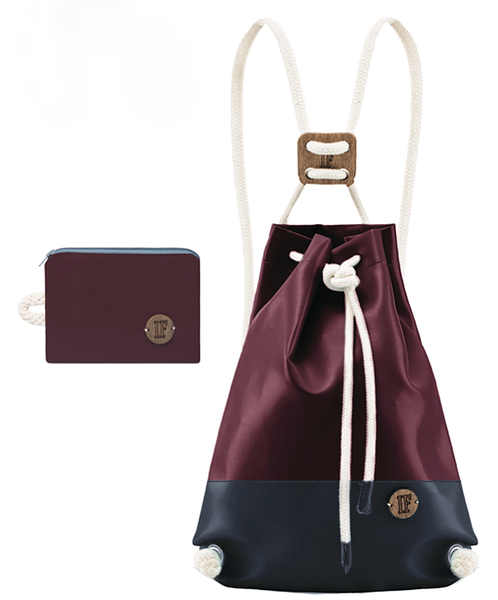 IF Double Backpack Bordeaux and Navy|Vegan Leather - Italy
