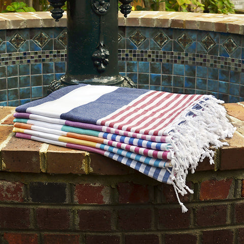 Boreas Turkish Cotton Towel - Navy Red