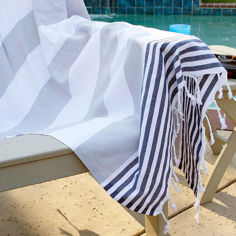 Boreas Turkish Cotton Towel - Grey Black