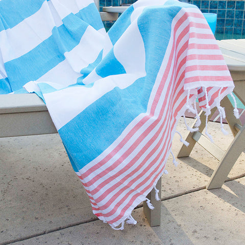 Chaput's Turkish Cotton Towel - Aqua Coral
