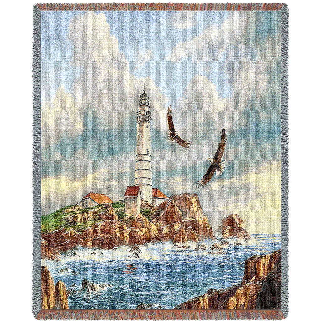 Boston Lighthouse Woven Throw Blanket by Rudi Reichardt©
