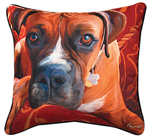 Harry Boxer Pillow by Robert McClintock -
