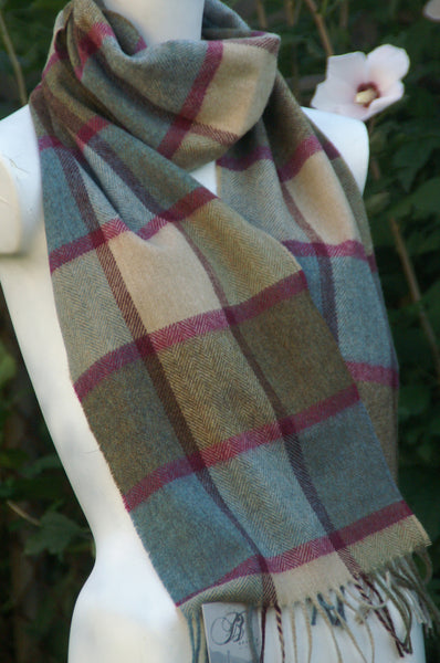 100% Merino Lambswool British Scarf - Teal Pateley -   - 1
