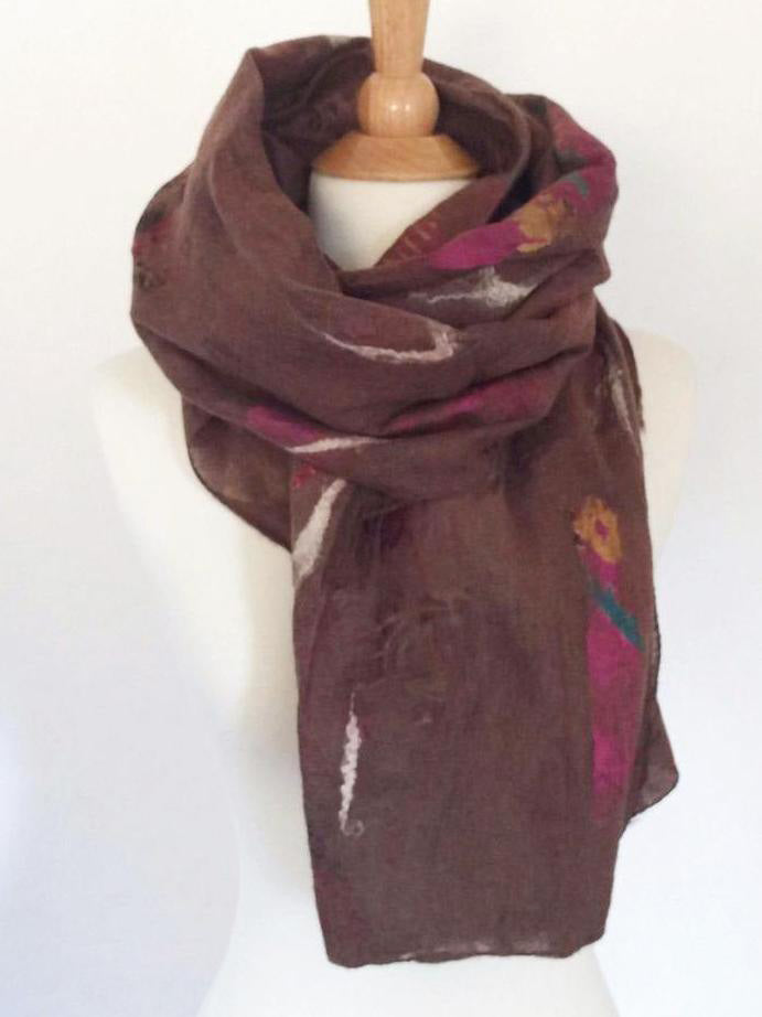 "Chocolate Brown Nuno Felted Merino Wool-Sari Silk ""Stole"" - One-of-a-Kind Wearable Art"