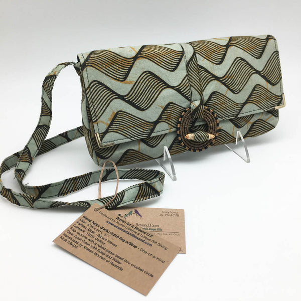 Rwandan Batik Clutch Bag w/Shoulder Strap - Brown Waves