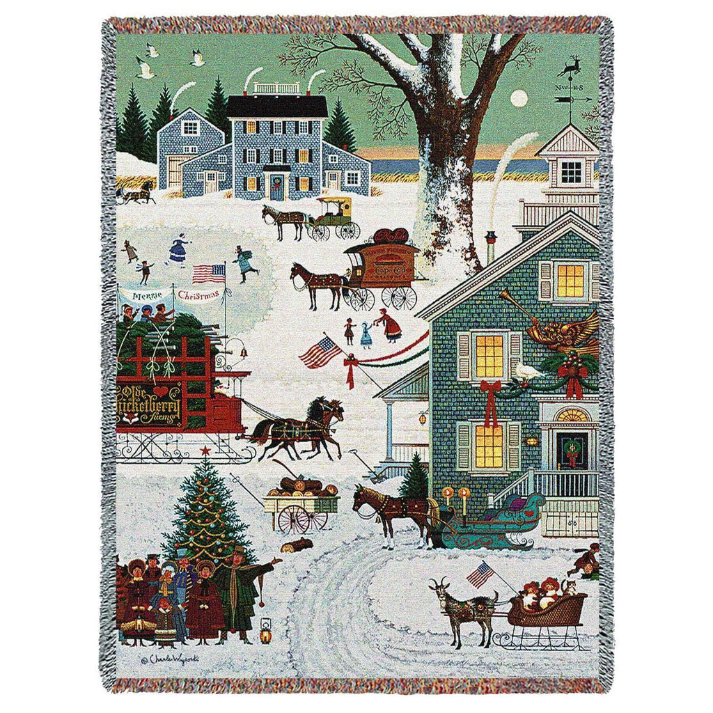 Charles Wysocki© Cape Cod Christmas Woven Throw Blanket