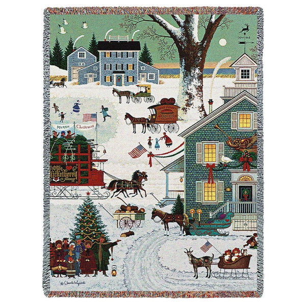 Charles Wysocki 169 Cape Cod Christmas Woven Throw Blanket