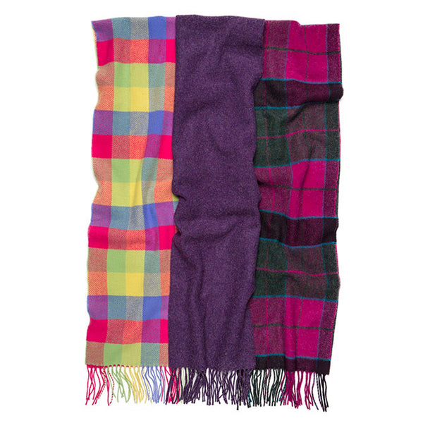100% Lambswool Irish Scarf - Bright Plaid -   - 2