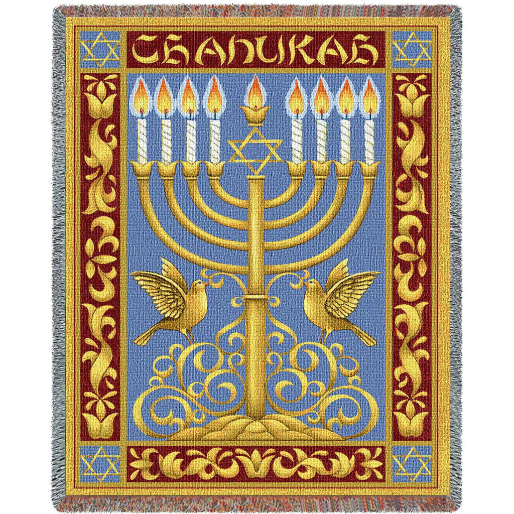 Chanukah Woven Throw Blanket -