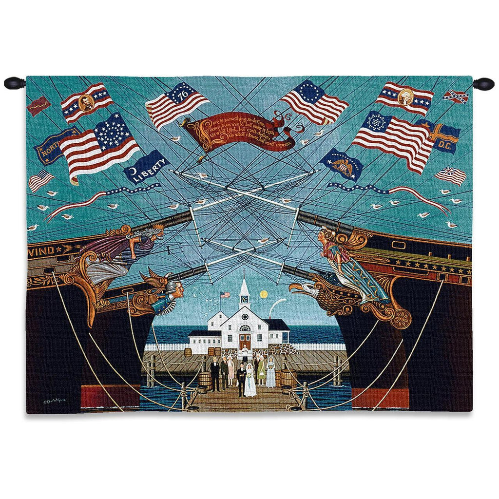 Dockside Marriage Wall Tapestry  by Charles Wysocki©
