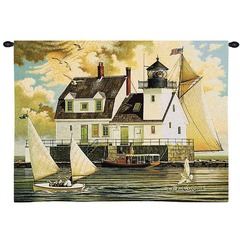 Rockland Breakwater Light Wall Tapestry  by Charles Wysocki©