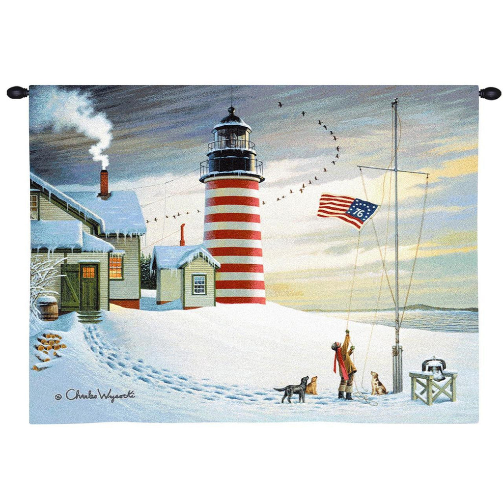 West Quoddy Head Light Wall Tapestry  by Charles Wysocki©