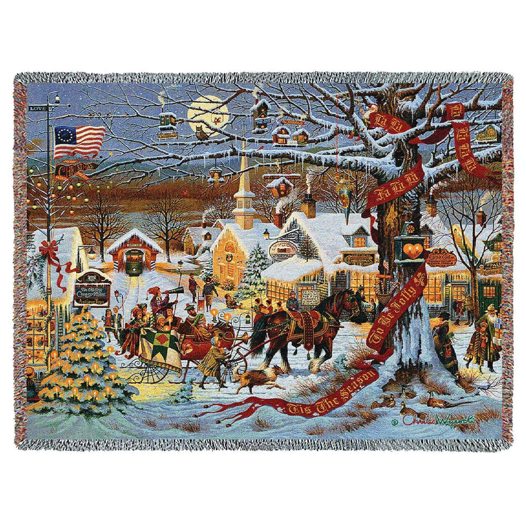 Charles Wysocki© Small Town Christmas Woven Throw Blanket