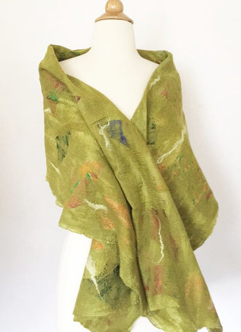"Chartreuse Nuno Felted Merino Wool-Sari Silk ""Wrap-Stole"" - One-of-a-Kind Wearable Art"