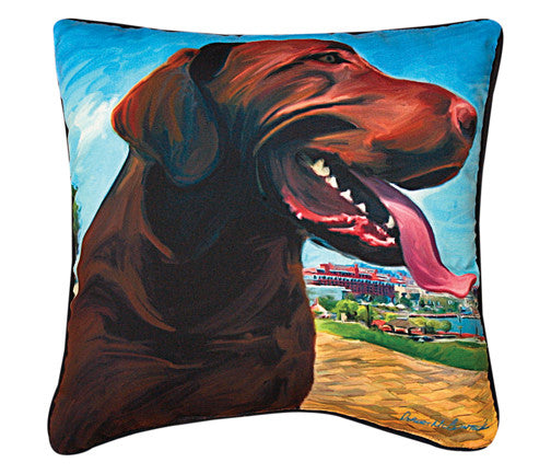 View From The HIll Chocolate Lab Pillow by Robert McClintock -